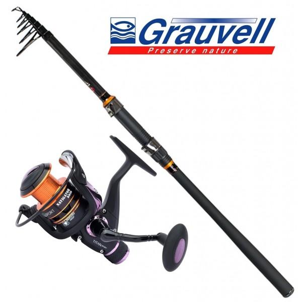 Grauvell Set Carbon Casting 15-60gr 3,00m Set Καλάμια Με Μηχανισμούς