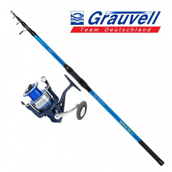 Grauvell Set Tele Surf Carbon 100-200gr 4.20m Set Καλάμια Με Μηχανισμούς