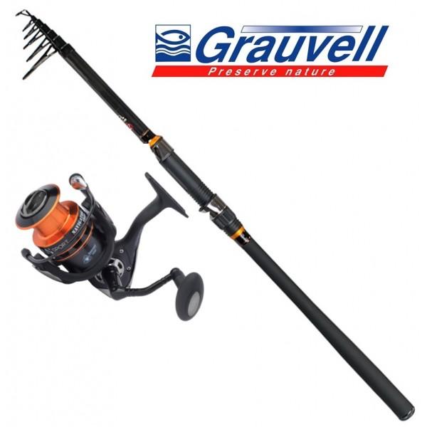 Grauvell Set Carbon Spinning 10-40gr 2.70m Set Καλάμια Με Μηχανισμούς