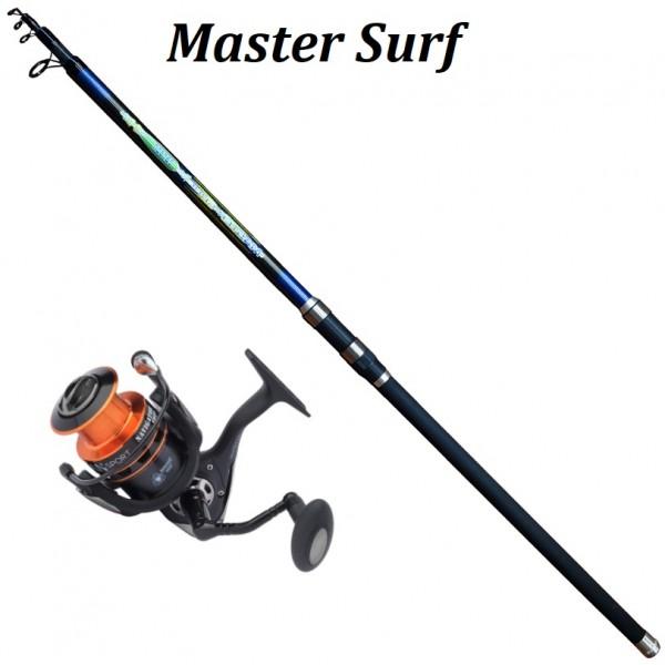 Set Master Surf Carbon 150gr 4,00m Set Καλάμια Με Μηχανισμούς